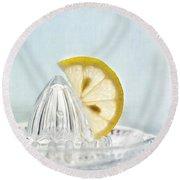 Still Life With A Half Slice Of Lemon Round Beach Towel by Priska Wettstein