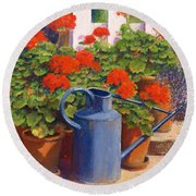 The Blue Watering Can Round Beach Towel by Anthony Rule