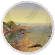 The Ganges Round Beach Towel by William Crimea Simpson