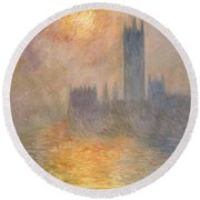 The Houses Of Parliament At Sunset Round Beach Towel by Claude Monet