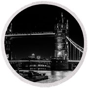 Tower Bridge And Barges Round Beach Towel by Dawn OConnor