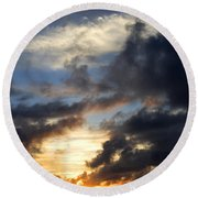 Tropical Sunset Round Beach Towel by Fabrizio Troiani