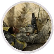 U.s. Army Specialist Takes A Nap Round Beach Towel by Stocktrek Images