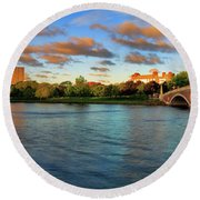 Weeks' Bridge Panorama Round Beach Towel by Rick Berk