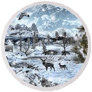 Winter Wonderland Round Beach Towel by Lourry Legarde