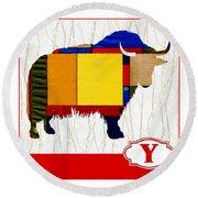 Y Is For Yak Round Beach Towel by Elaine Plesser