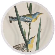 Blue Yellow-backed Warbler Round Beach Towel by John James Audubon