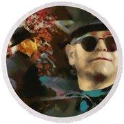 Elton John Round Beach Towel by Sergey Lukashin