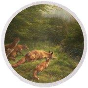 Foxes Waiting For The Prey   Round Beach Towel by Carl Friedrich Deiker