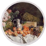 Still Life With Flowers And Fruit On A Table Round Beach Towel by Alfred Petit