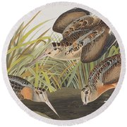 American Woodcock Round Beach Towel by John James Audubon