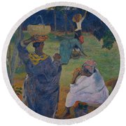 Among The Mangoes At Martinique Round Beach Towel by Paul Gauguin