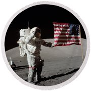 Apollo 17 Astronaut Salutes The United Round Beach Towel by Stocktrek Images