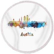 Austin Skyline In Watercolor Round Beach Towel by Pablo Romero