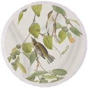 Autumnal Warbler Round Beach Towel by John James Audubon