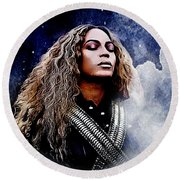 Beyonce  Round Beach Towel by The DigArtisT