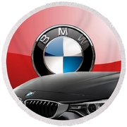 Black B M W - Front Grill Ornament And 3 D Badge On Red Round Beach Towel by Serge Averbukh