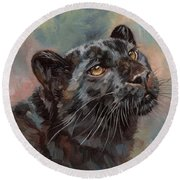 Black Leopard Round Beach Towel by David Stribbling