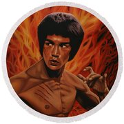 Bruce Lee Enter The Dragon Round Beach Towel by Paul Meijering