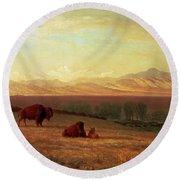 Buffalo On The Plains Round Beach Towel by Albert Bierstadt