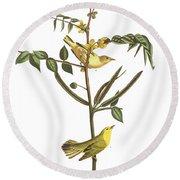 Children's Warbler Round Beach Towel by John James Audubon
