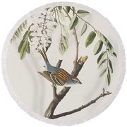 Chipping Sparrow Round Beach Towel by John James Audubon