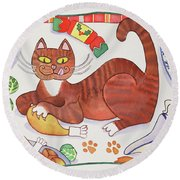 Christmas Cat And The Turkey Round Beach Towel by Cathy Baxter