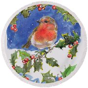 Christmas Robin Round Beach Towel by Diane Matthes