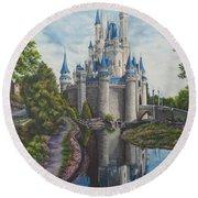 Cinderella Castle  Round Beach Towel by Charlotte Blanchard