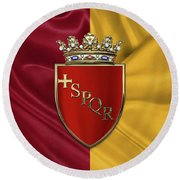 Coat Of Arms Of Rome Over Flag Of Rome Round Beach Towel by Serge Averbukh