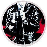 Elvis Round Beach Towel by Luis Ludzska