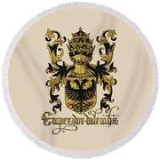 Emperor Of Germany Coat Of Arms - Livro Do Armeiro-mor Round Beach Towel by Serge Averbukh