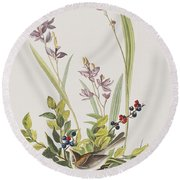 Field Sparrow Round Beach Towel by John James Audubon