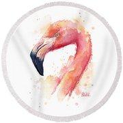 Flamingo Watercolor  Round Beach Towel by Olga Shvartsur