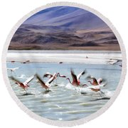 Flying Flamingos Round Beach Towel by Sandy Taylor