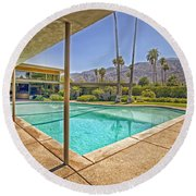 Frank Sinatra's Twin Palms Estate Round Beach Towel by Mountain Dreams