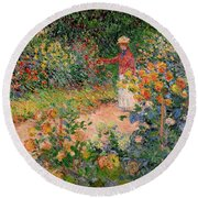 Garden At Giverny Round Beach Towel by Claude Monet