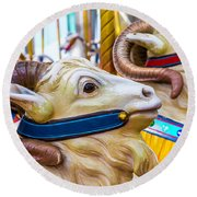 Goat Carrousel Ride Round Beach Towel by Garry Gay