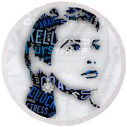 Grace Kelly Movies In Words Round Beach Towel by Marvin Blaine