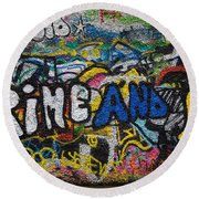 Grafitti On The U2 Wall, Windmill Lane Round Beach Towel by Panoramic Images