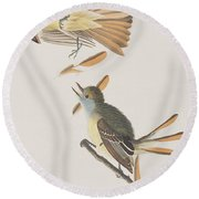 Great Crested Flycatcher Round Beach Towel by John James Audubon