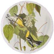 Hemlock Warbler Round Beach Towel by John James Audubon