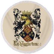 King Of England Coat Of Arms - Livro Do Armeiro-mor Round Beach Towel by Serge Averbukh