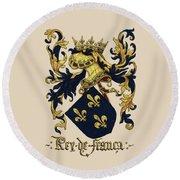 King Of France Coat Of Arms - Livro Do Armeiro-mor  Round Beach Towel by Serge Averbukh