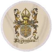 Kingdom Of Jerusalem Coat Of Arms - Livro Do Armeiro-mor Round Beach Towel by Serge Averbukh