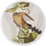 Mangrove Cuckoo Round Beach Towel by John James Audubon