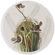 Marsh Wren  Round Beach Towel by John James Audubon