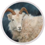 Mountain Goat Round Beach Towel by David Stribbling