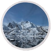 Mountain Reflection Round Beach Towel by Frank Olsen