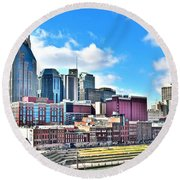 Nashville From Above Round Beach Towel by Frozen in Time Fine Art Photography